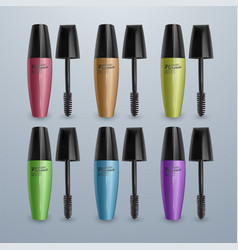 set of mascaras for eyelashes colorful 3d vector image