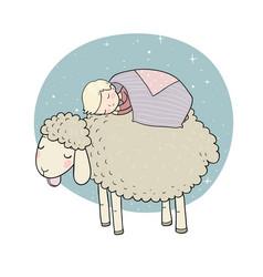 Sleeping boy and cute cartoon sheep good night vector