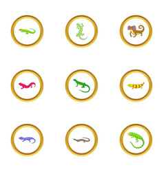 small lizard icons set cartoon style vector image