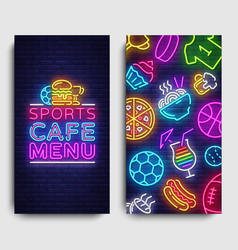 Sport cafe menu vertical banners design template vector