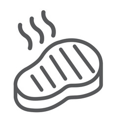 steak line icon food and meal meat sign vector image