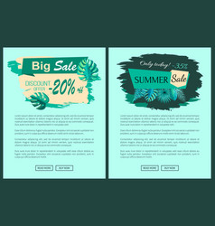 Summer sale with 35 and 20 percent off promotional vector