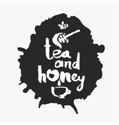 tea and honey in an ink blot vector image