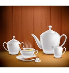 Tea Set Composition vector image
