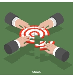 Team goals isometric flat concept vector image