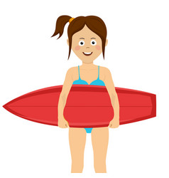 teenager girl with a red surfboard vector image