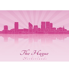The hague skyline in purple radiant orchid vector