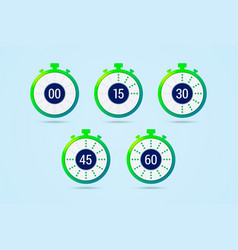 Timer icons with color gradation and numbers in vector