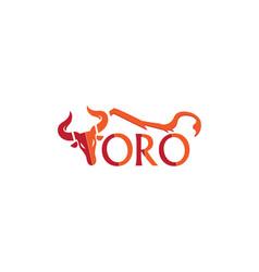 Toro head red orange stylized alphabet logo bull vector