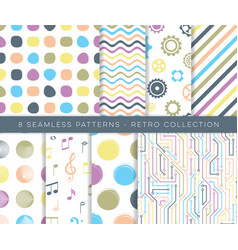 Trendy retro various seamless pattern set vector