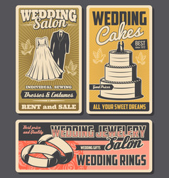 wedding rings cake bride dress and groom suits vector image