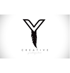Y feather letter logo icon design with feather vector