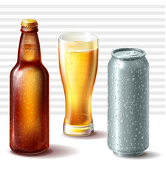 Beer bottle glass and aluminum can vector