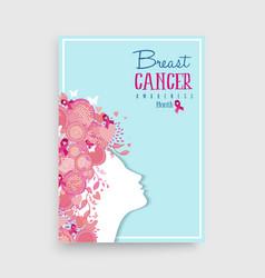 breast cancer awareness pink girl poster design vector image