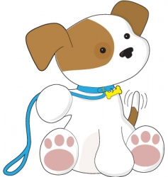 cute puppy and leash them vector image vector image