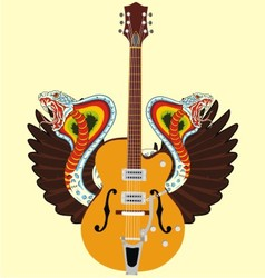 electric guitar and snake wing vector image vector image