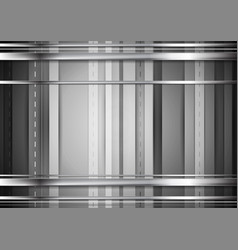 grey tech background with silver stripes vector image
