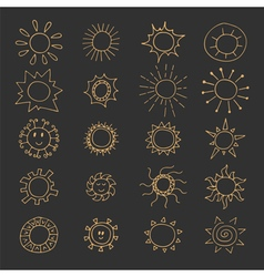 Hand drawn set of different suns and sunbursts vector image vector image