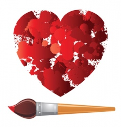 heart and paintbrush vector image