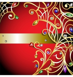 Red background with gold jewerly vector image