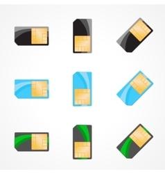 Sim card set of designer on white vector image
