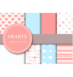 valentines day hearts seamless pattern background vector image vector image