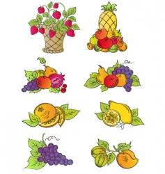 vintage fruits set vector image