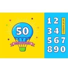 Anniversary colorful background hot air balloon vector image vector image