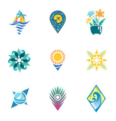 bright travel icons vector image