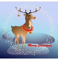Christmas greeting card with reindeer and bells vector image