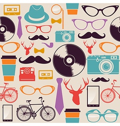 Colorful vintage hipsters icons vector image