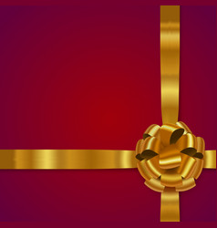 gold realistic bow with ribbons vector image vector image