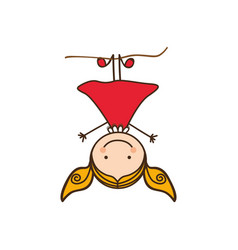 happy girl play in the horizontal bar vector image
