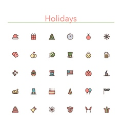 Holidays Colored Line Icons vector image vector image