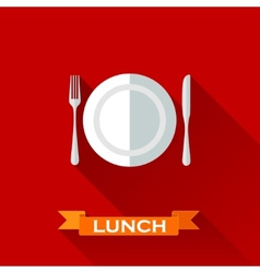 with a plate and cutlery in flat design style with vector image vector image