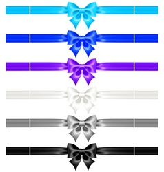 Bows with ribbons of cool colors vector image vector image