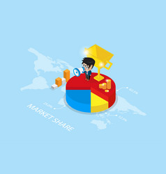 businessman holding a megaphone on pie chart vector image