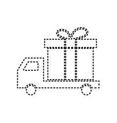 delivery gift sign black dashed icon on vector image