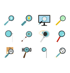 magnify glass icon set flat style vector image