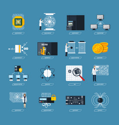 quantum computing flat icons vector image