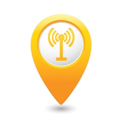 wi fi icon yellow map pointer vector image vector image