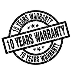 10 years warranty round grunge black stamp vector