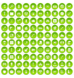 100 help icons set green vector