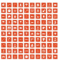 100 phobias icons set grunge orange vector