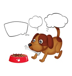 A puppy eating his food vector image