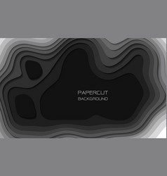 abstract grey tone paper cut 3d layers overlap art vector image