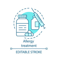 Allergy treatment concept icon vaccination and vector