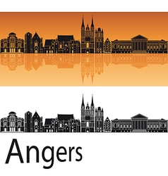 Angers skyline in orange background vector