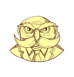 Angry owl man mustache doodle color vector