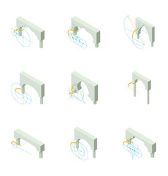 Arch icons set isometric style vector
